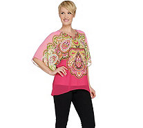 """As Is"" Susan Graver Artisan Printed Sheer Chiffon Scarf Top Set - A297821"