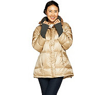 G.I.L.I. Down Pod Puffer Coat with Knit Trim - A298621