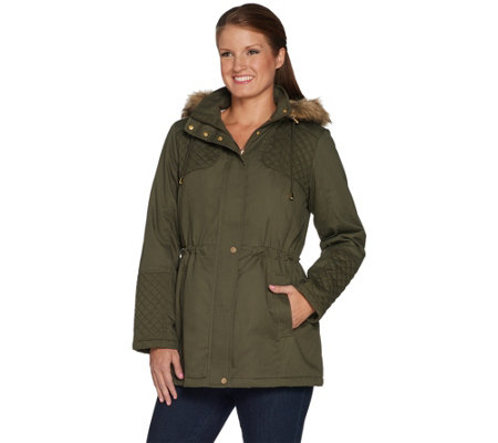 Susan Graver Cotton Anorak Jacket with Sherpa Lining