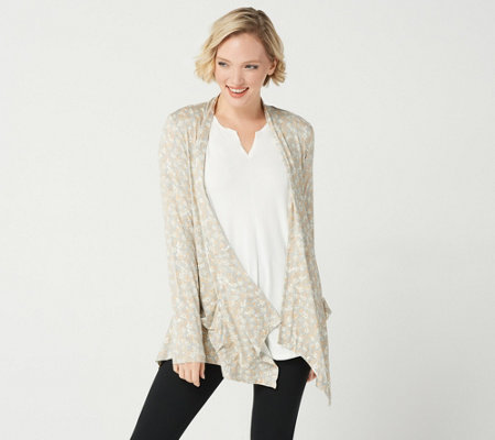 LOGO by Lori Goldstein Printed Open Front Cardigan