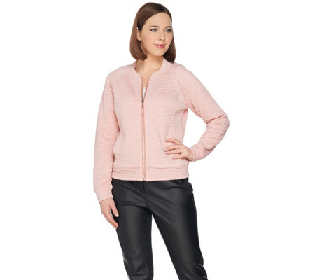 """As Is"" H by Halston Lightweight Textured Knit Bomber Jacket"