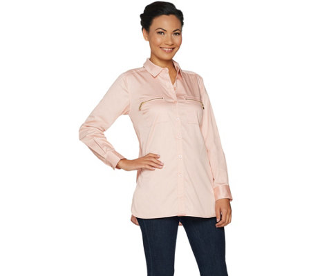 """As Is"" Belle by Kim Gravel Girlfriend Shirt with Zipper Pockets"