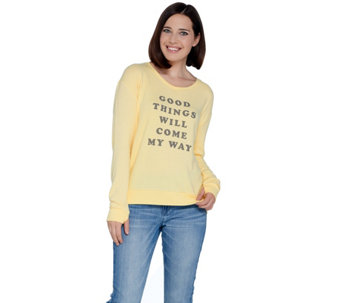 Peace Love World V Neck Comfy Knit Top With Affirmation A