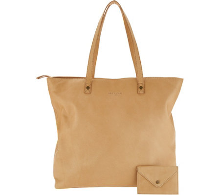 """As Is"" American Leather Co. Glove Leather Zip Top Tote"