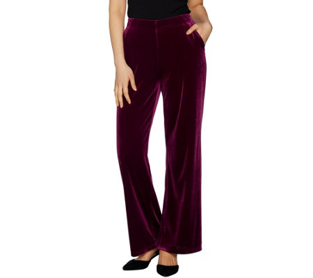 """As Is"" Dennis Basso Wide Leg Stretch Velvet Pants Regular"