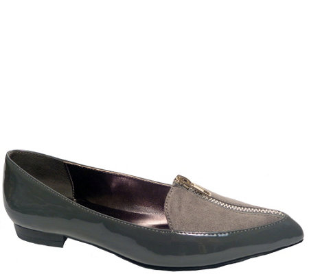Bellini Slip-on Flats with Zipper Detail - Fortune