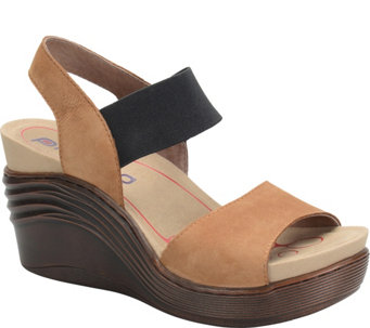 Bionica Leather Wedge Sandals - Stream - A339321