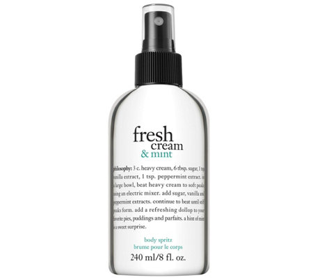 philosophy fresh cream and mint body spritz, 8 oz