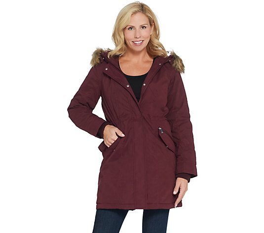 Reshop Womens Casual Autumn Lightweight Warm Faux Fur Solid Parka Jacket Outwear Overcoat Coats