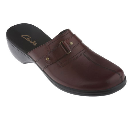 Clarks Apple Leather Buckle Detail Clogs