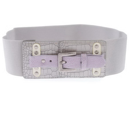 LOGO by Lori Goldstein Animal Detail Stretch Wide Belt