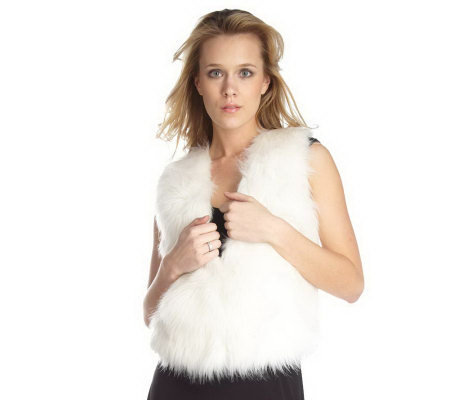Rachel Zoe V-neck Vest with Faux Fur Front