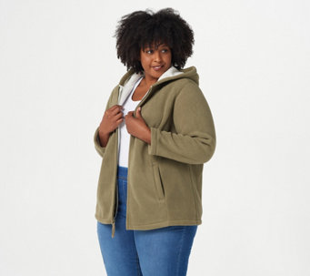 Denim & Co. Zip Front Fleece Jacket with Hood and Sherpa Lining - A209822