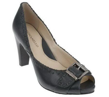Tignanello Leather Open Toe Pumps w/ Whipstitch & Buckle Detail