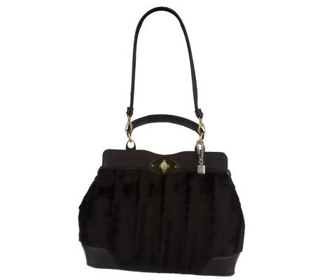 Park Avenue Faux Fur Satchel w/ Patent Trim By VT Luxe