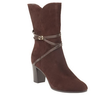 Isaac Mizrahi Live! Suede Boots with Strap Detail
