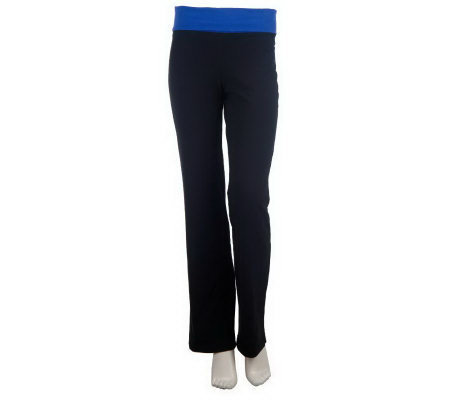 Women with Control Wide Waistband Foldover Boot Cut Pants
