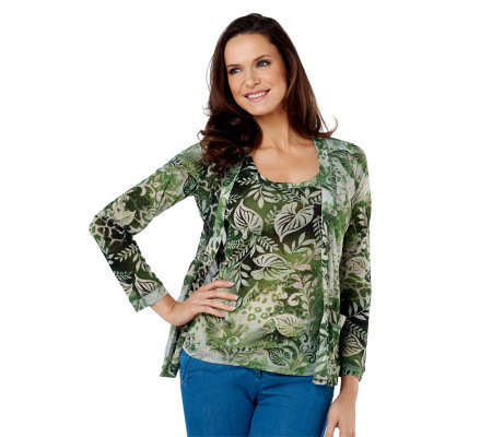 Susan Graver Printed Mesh V-neck Cardigan with Pockets and Tank