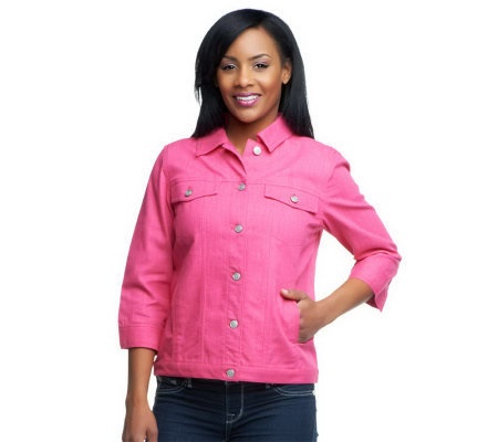Denim & Co. 3/4 Sleeve Colored Denim Jean Jacket