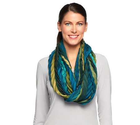 Collection 18 Striped Chevron Infinity Scarf