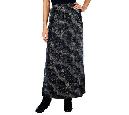 George Simonton Burnout Velvet Knit Maxi Skirt with Elastic Waistband
