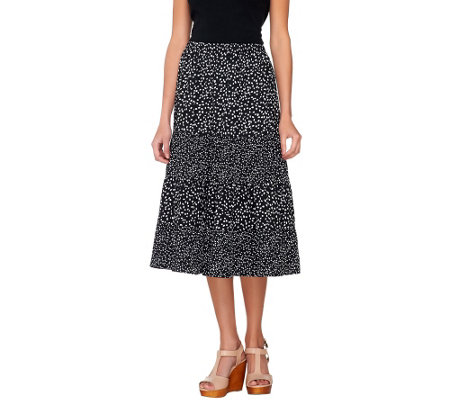 Susan Graver Printed Crinkled Polyester Tiere Pull On Skirt