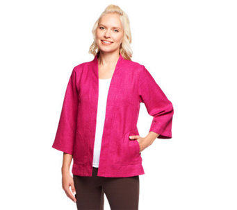 Linea by Louis Dell'Olio 3/4 Sleeve Open Front Jacket - A235322
