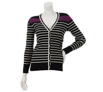"""As Is"" Denim & Co. Long Sleeve V-Neck Stripe Cardigan - A236522"