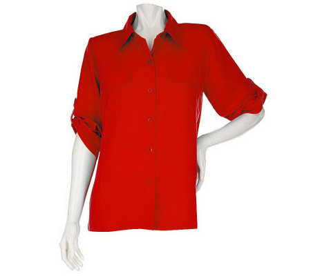 """As Is"" Susan Graver Peachskin Solid Roll Tab Shirt"