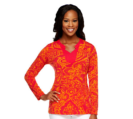 Susan Graver Liquid Knit Printed Long Sleeve Top w/ Split Neck