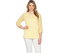 Denim & Co. Perfect Jersey 3/4 Lace Sleeve Round Neck Top - A253022