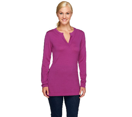 Isaac Mizrahi Live! Merino Wool Split Neck Tunic Sweater