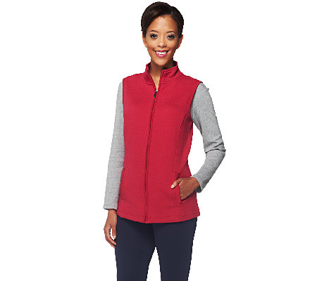 Denim & Co. Active Quilted Knit Zip Front Vest