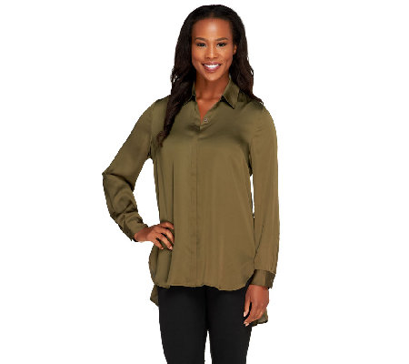 Susan Graver Charmeuse Button Front Shirt with Hi-Low Hem
