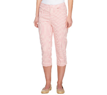 """As Is"" Liz Claiborne New York Regular Jackie Striped Capris - A260222"