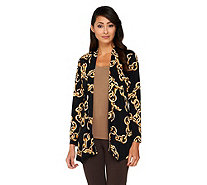 Susan Graver Printed Liquid Knit Long Sleeve Cardigan - A261222