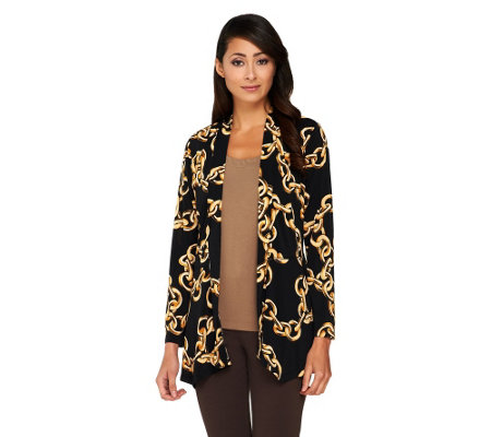 Susan Graver Printed Liquid Knit Long Sleeve Cardigan