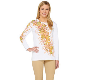 Bob Mackie's Long Sleeve Floral Printed Pullover Sweater - A263722