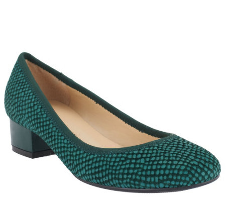"""As Is"" Isaac Mizrahi Live! Snake Embossed Leather Pumps"