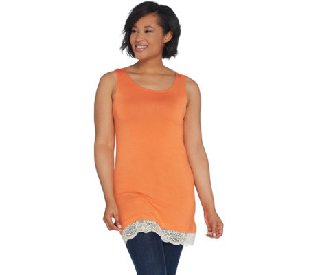 LOGO Layers by Lori Goldstein Straight Hem Knit Tank with Lace Trim