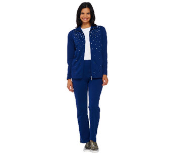 Quacker Factory Pearly Spray Zip Front Jacket and Pant Set - A264522