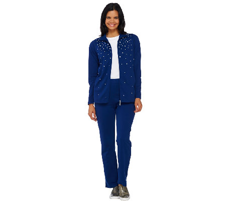 Quacker Factory Pearly Spray Zip Front Jacket and Pant Set