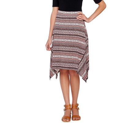 Lisa Rinna Collection Printed Knit Midi Skirt with Shark-Bite Hem