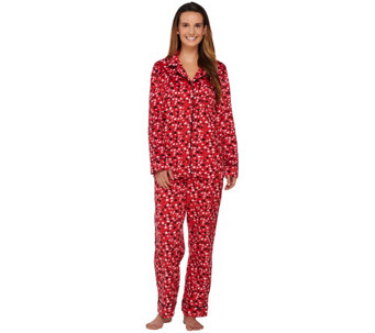 Carole Hochman Micro Fleece Notch Collar Novelty Pajama Set - A266722