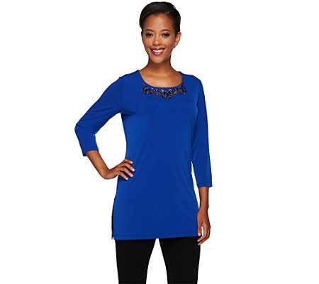 Susan Graver Artisan Liquid Knit Tunic with Embellishment