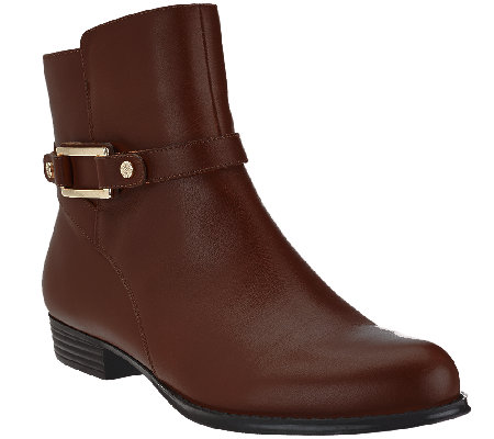 Isaac Mizrahi Live! Leather Ankle Boots w/ Buckle Detail