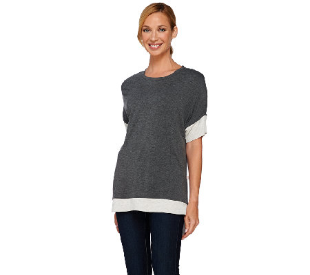 Isaac Mizrahi Live! SOHO Relaxed Color-Block Tee