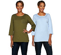Quacker Factory Set of 2 Be Jeweled 3/4 Sleeve T-shirts - A268422