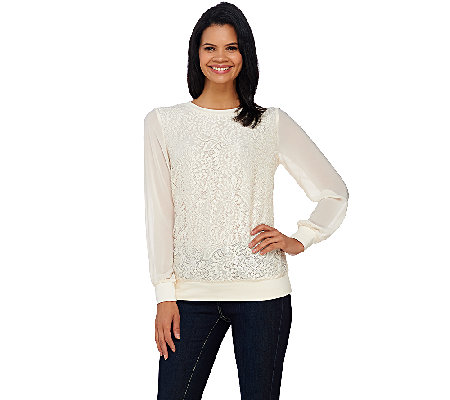Dennis Basso Lace Front Pull-Over Top