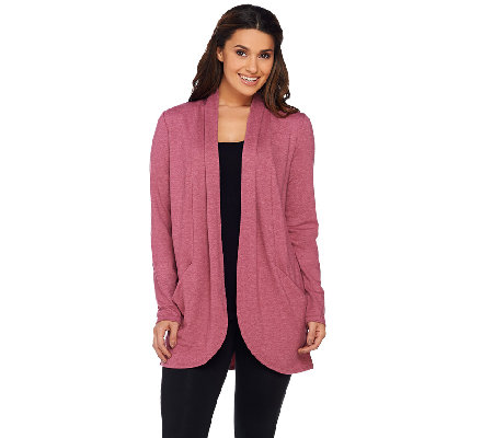 LOGO Lounge by Lori Goldstein French Terry Cocoon Cardigan with Pockets